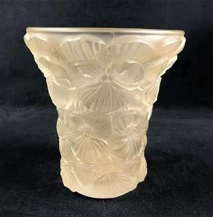 Vintage Josef INWALD Of BAROLAC Art Glass Vase Pensees