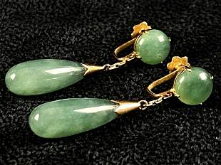 Vintage European 14K Yellow Gold Button Jade Drop Screw