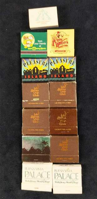 13 Vintage Walt Disney World And Orlando Matchbooks