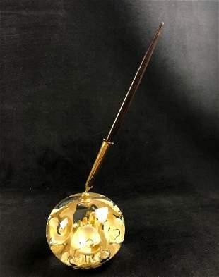 Art Glass Joe St. Clair Paperweight Pen Holder