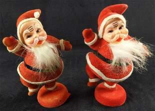 2 Vintage Flocked Felt Dancing Santa Clauses