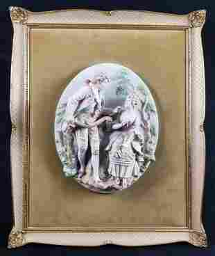 Vintage Bisque Relief Wall Plaque As IS