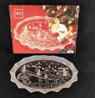 Mikasa Silent Night Glass Christmas Serving Plate