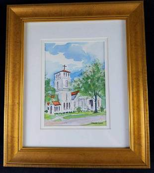 Framed Stewart Jones Watercolor Mission Church