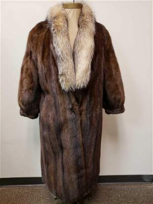 Morin Fourrures Mink Fur Coat with Fox Fur Collar