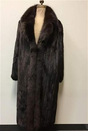 Evans Furs Mahogany Mink with Brown Fox Tux Coat