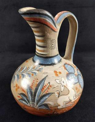 Tonala Style Pottery Pitcher Mexican Folk Art Deer