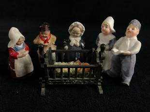 """Antique Hand Painted Porcilian 2"""" Germany Figures"""
