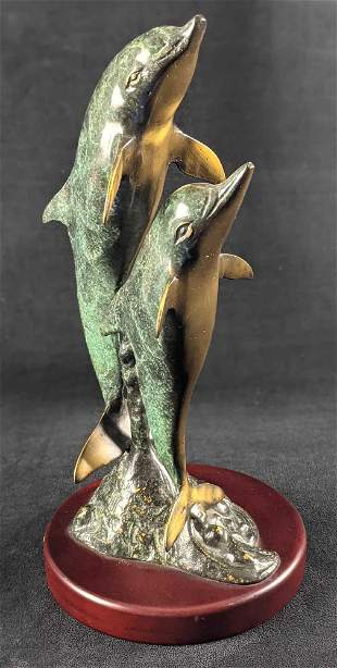 Brass Leaping Dolphin Pair Ocean Nature Wild Life B
