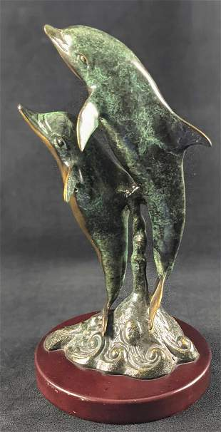 Brass Leaping Dolphin Pair Ocean Nature Wild Life A