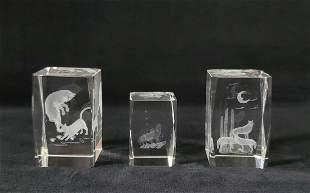 Glass Cuboid Laser Engravings Wolves Cat Lot of 3
