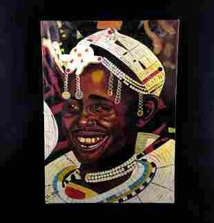 Original East Africa Masai Tribe Artist Ras kassa Oil