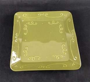 LG Ceramic Green Swirls Crate Barrel Serving Tray