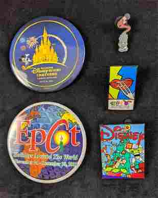 Disney Lot Of Five Pins And Buttons