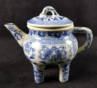 Antique 19c Qianlong 4 Leg Chinese Porcelain Teapot