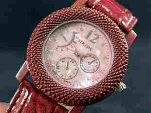 New STRADA Red Mother Of Pearl Leather Band Watch &