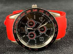 STRADA 46mm Red / Black Silicone Bands Watch