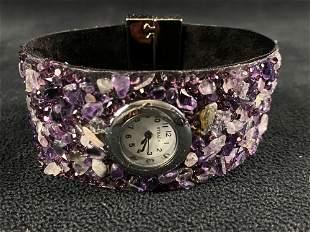 New STRADA Amethyst & Crystal Watch W/ Box & Papers