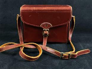 Antique Marshall Fields Company Burgundy Leather Case