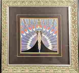 Framed Art Deco Erte The Nile Embellished Print W3