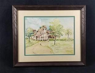 Original Watercolor Country Home with Winding Walkway