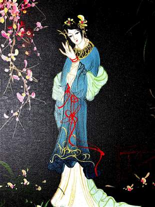 Vintage Signed Asian Geisha Girl Original Oil On Canvas
