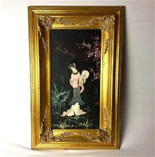 Vintage Signed Asian Geisha Girl W/ Fan Original Oil On