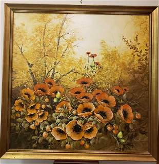 Red Poppies Fall Landscape Oil Painting by Christiana