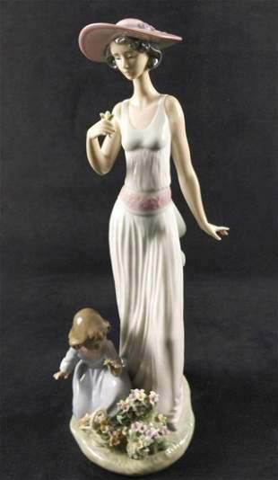 Retired Porcelain Lladro Flowers In Bloom Child