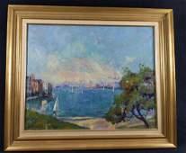 Large Framed William Grunstein Oil Sydney Harbor