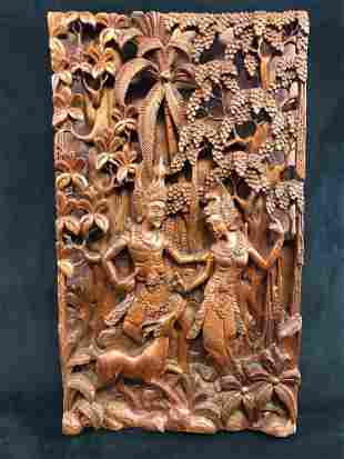 Mid Century Hand Carved Rama And Sita Relief