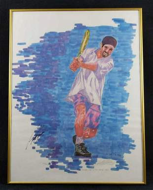 Andre Agassi Framed Autographed LE Watercolor