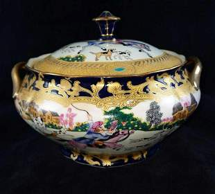 Antique Chinese Qianlong Fox Hunt Serving Bowl