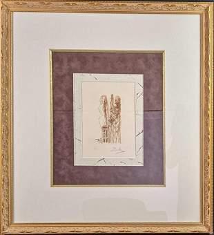 Framed Salvador Dali AD Editon Lithograph Man With