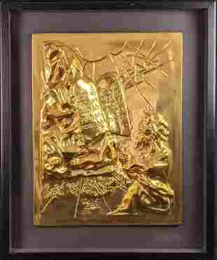 Dali Gold Patina Bronze Relief Ten Commandments X9
