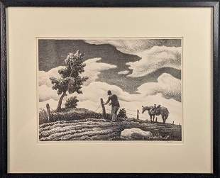 Thomas Hart Benton Fence Mender Signed Lithograph