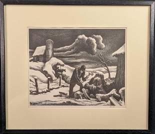 Thomas Hart Benton The Woodpile Signed Lithograph
