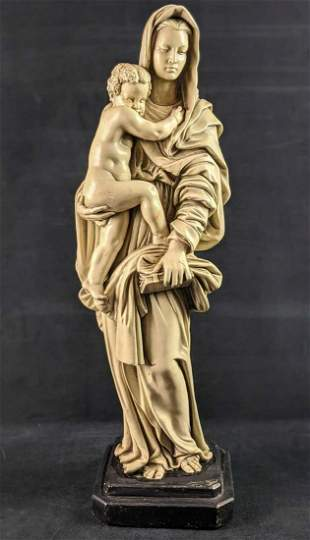 Vintage Chalkware Marwal Mary Baby Jesus Garden Statue