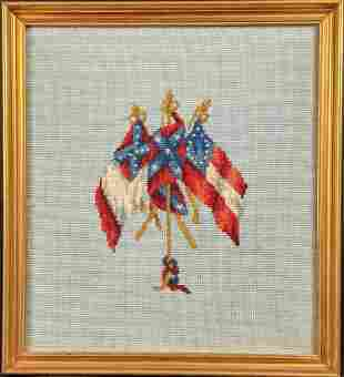 Vintage Framed Needlepoint Of Three Confederate Flags