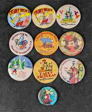Vintage Disney World Button Lot Of Ten Mickey Roger