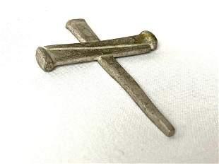 Rare Vintage Handmade Pewter Nail Cross