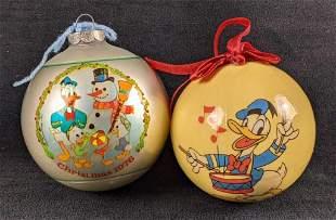2 Vintage Disney Donald Duck Christmas Ornaments