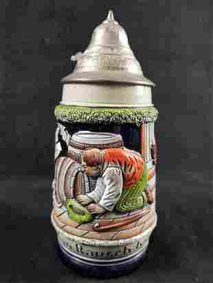 A Noisy Flight German Beer Stein with Pewter Lid