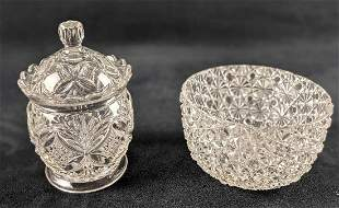 Vintage Glass Bowl And Candy Jar