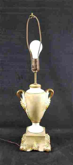 Vintage Green and White Ceramic Table Lamp
