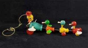 Vintage Fisher Price Gabby Goofies Duck Pull Toy