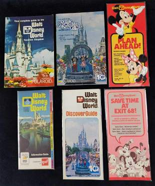 Six Vintage Walt Disney World Maps Guidebooks