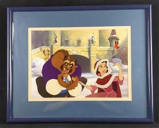 Framed Disney Belle Tames The Beast Litho Beauty
