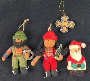 Four Vintage Hand Made Felt Christmas Ornaments