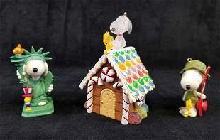 Lot of 3 Snoopy Christmas Ornament Collectibles B